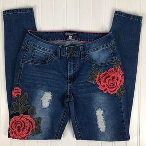 Boom Boom Distressed Crocheted Roses Skinny Jeans